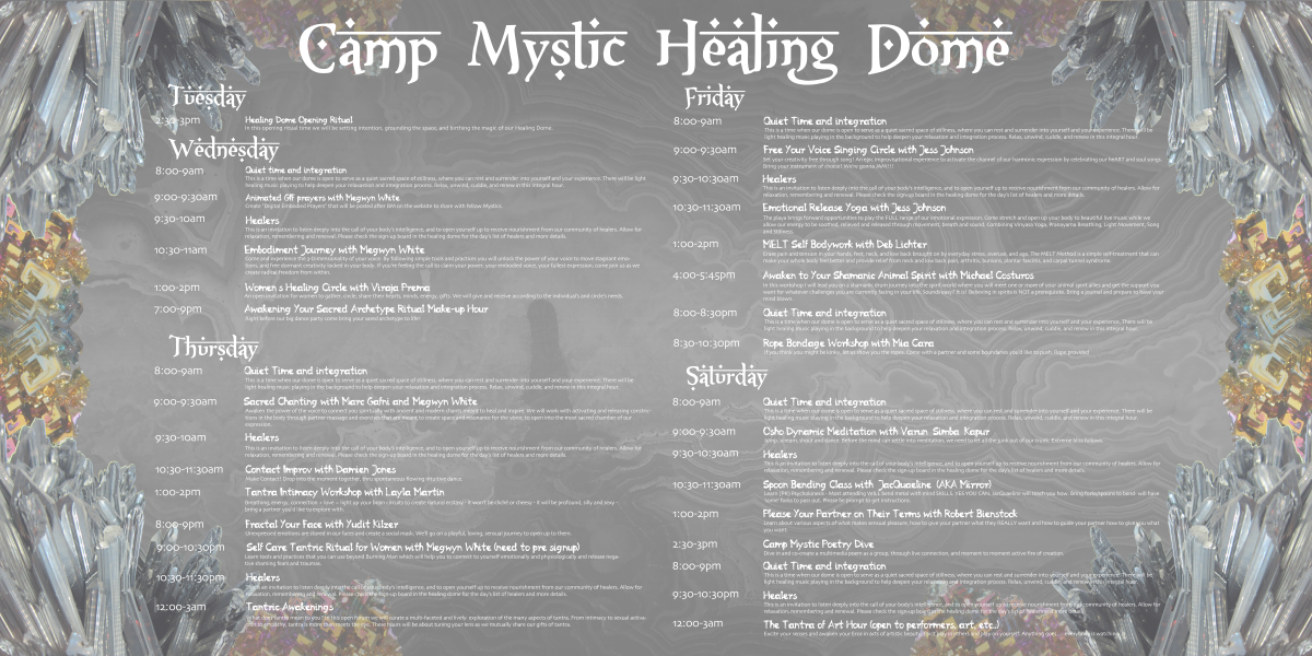 Camp Mystic Healing Dome Events 2014